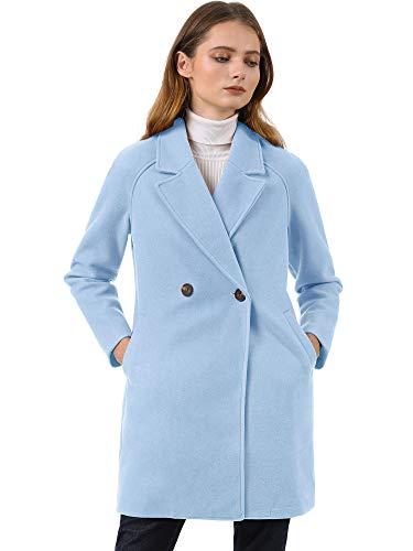 Allegra K Trench Abrigo Raglán Doble Botonadura Solapa con Muescas para Mujer Azul Claro S