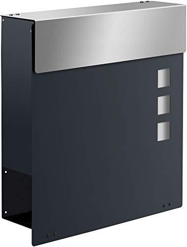 Frabox® Design Briefkasten NAMUR EXKLUSIV in RAL 7016 anthrazitgrau mit Zeitungsfach