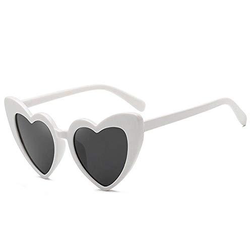 Kongyher Zonnebril, mode, gepersonaliseerde witte hartjes, kunststof frame, platte glazen met uv-bescherming 400 uv, geschikt voor paardrijden, fietsen, hardlopen, skiën, vissen, licht - lange levensduur