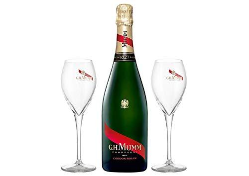 Champagne AOC Cordon Rouge con 2 flûte G.H. Mumm 0,75 L Astucciato