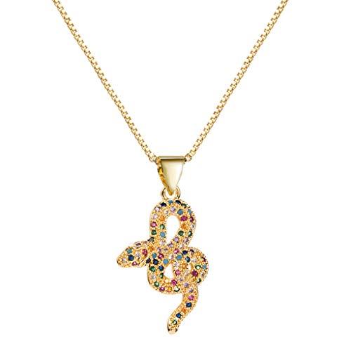Gnaixyc Collar Colgante De Serpiente De Cristal Lindo para Mujer Collar De Cadena De Oro Animal Joyería De Cumpleaños