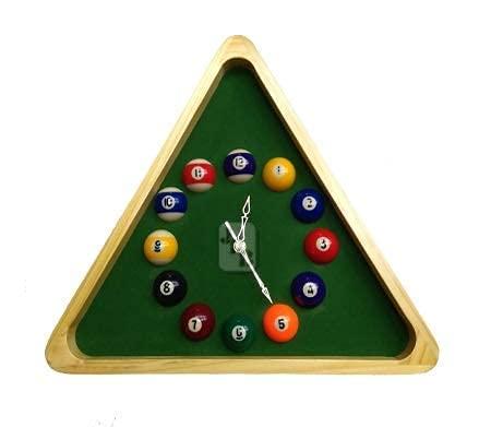 KBA Snooker Billiard Pool Ball Set Wood Wall Clock/Watch in Triangle Frame (Green)
