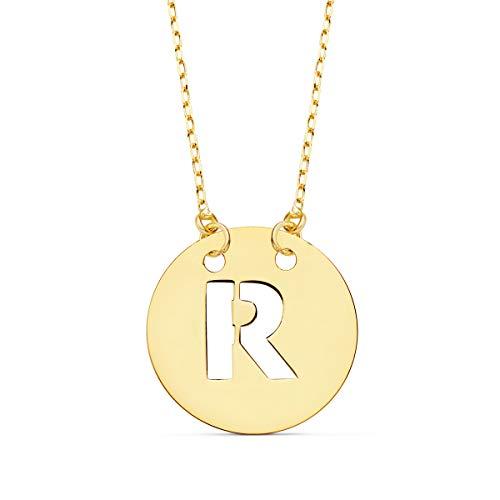 Alda Joyeros Collar Mujer Letra R Inicial Oro Amarillo 18k 42cm Gargantilla Cadena