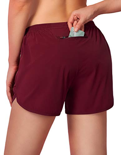 G Gradual Women's Running Shorts 3' Athletic Workout Shorts for Women with Zipper Pockets (Dark Red, Large)