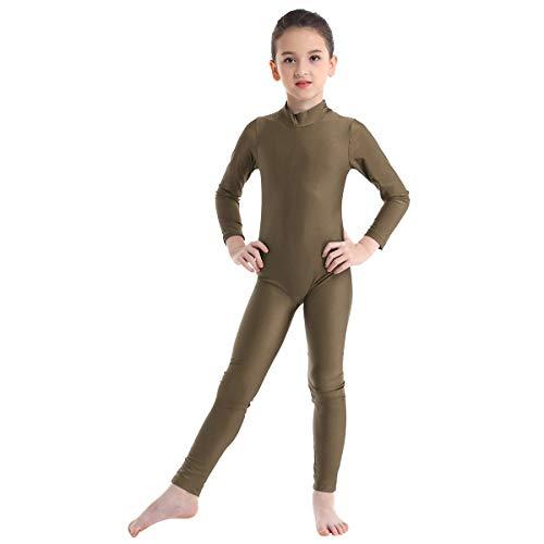 inhzoy Maillot de Danza Clásica para Niña Manga Larga Leotardo de Ballet Gimnasia Rítmica Mono Elástico de Patinaje Baile Práctica Traje Bailarina Marrón 5-6 Años