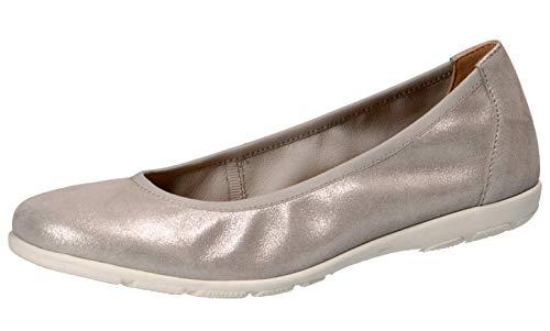CAPRICE 22150-22 Damen KlassischeBallerinas,Flats,Sommerschuh,klassisch elegant,(924) Silver SUE.MET,37 EU