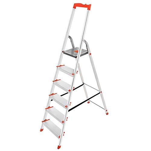 SONGMICS Leiter 6 Stufen, Stehleiter, Trittleiter, 12 cm breite Stufen, Klappleiter, Werkzeugschale, bis 150 kg belastbar GLT006WT01