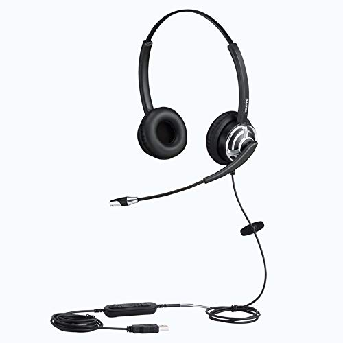 USB Headset Binaural Kopfhörer für Büro Call Center Skype Microsoft Lync mit Noise Cancelling Mikrofon Spracherkennung Mic für Dragon with mic Mute Call Button