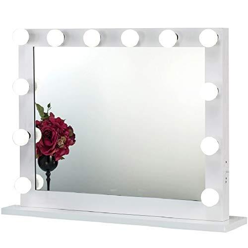 Joyful Store Hollywood Makeup Mirror,Wall Mounted Dressing Illuminated Cosmetic Mirror,Backstage Studio Tabletop Vanity Lighting Mirror,Perfect Festival Birthday Gift,White (6580)