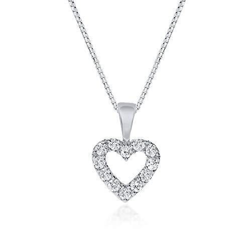 La Joya Dainty Lab Grown Diamond Heart Necklace Pendant For Women - White Rhodium Plated 925 Sterling Silver With Adjustable Chain- Sparkling Diamond Outlined Silver Heart Pendant Necklace