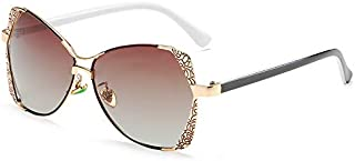 NALANDA Women's Polarized Aviator Sunglasses With Carving Pattern UV400 HD Lens Metal PC Frame, Double Bridges Glasses For...
