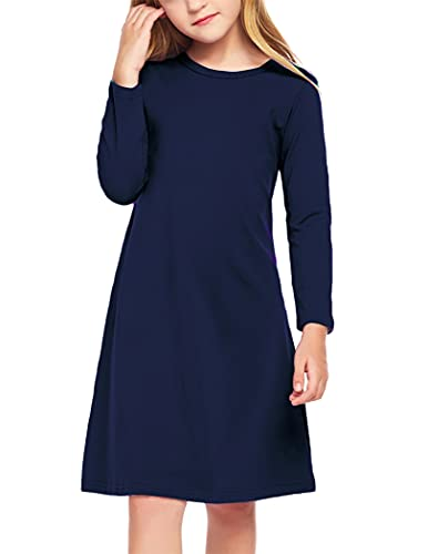 Arshiner Girls Dress Kids Long Sleeve Solid Color Casual T-Shirt Dress Navy Blue