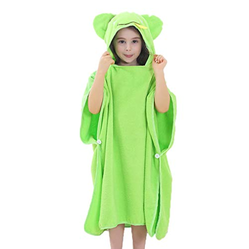 ZMH Baumwoll-Kinder-Set Kopf Bademantel, 1-7 Jahre Altes Kinder-Kopftuch, Fünf Farbmuster Optional,Green