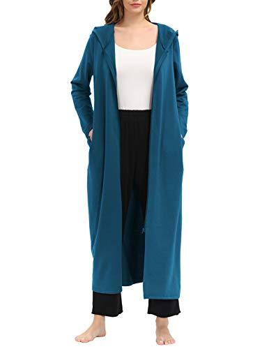 Kimono de algodón con cremallera con bolsillos-Albornoz de mujer Bata de hotel, camisón, bata de spa Azul eléctrico S