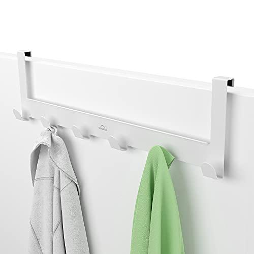 MDCASA Türgarderobe 1,5 cm Türfalz - Kleiderhaken Tür - Handtuchhalter Tür Bad - Türhakenleiste (Weiß)