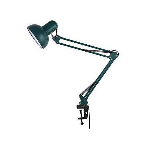 ACMHNC Retro Luz de Lectura Con Pinza, Lámpara de Escritorio Verde Brazo Giratorio,Lámpara de Abrazadera Metal, Lámpara Arquitectónica, Protección Ocular, E27 Lámpara de Mesa Para Estudio Oficina