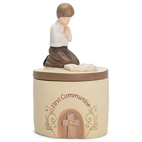 Dicksons First Communion Praying Boy John 6:35 Resin Stone 5 inch Keepsake Box