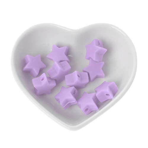 LANDUM 10 Morceaux Perles De Silicone Perles De Dentition en Silice Étoile De 15 Mm Baby Spielzeug DIY Schnullerkette Zubehör - Violet Clair