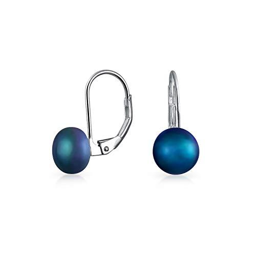 Simple azul blanco rosa agua dulce cultivado perla palanca de vuelta redondo bola gota pendientes para las mujeres 925 plata de ley