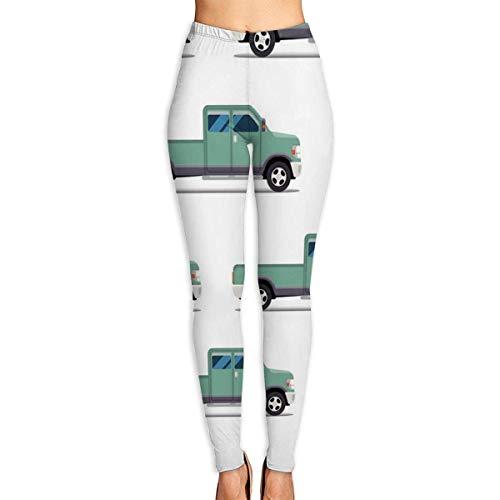 JJsister Pantalones de Yoga, Green Pickup Truck Printed Yoga Pants for Women Running Workout Yoga Capris Pants Leggings