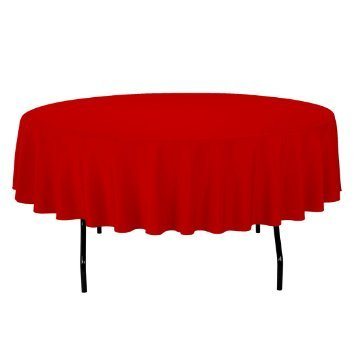 "OWS 60"" Inch Red Round Polyester Table Cloth Table Cover Wedding Party Event - 1 Pc"