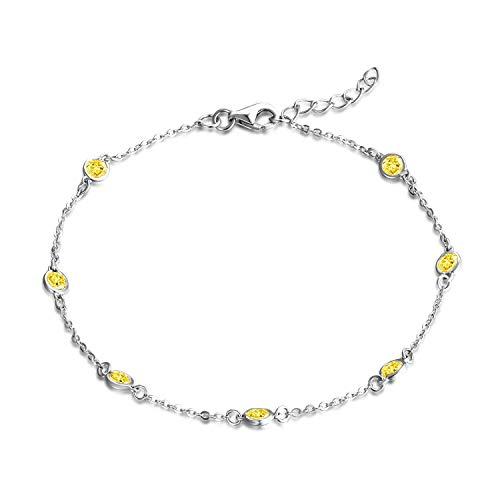 JO WISDOM Damen Armband Bead Silber 925 mit AAA Zirkonia Dezember Geburtsstein Tansanit Farbe Fußkettchen