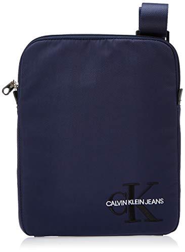 Calvin Klein Ckj Monogram Nylon Flat Pack - Borse a spalla Uomo, Blu (Navy), 0.1x0.1x0.1 cm (W x H L)
