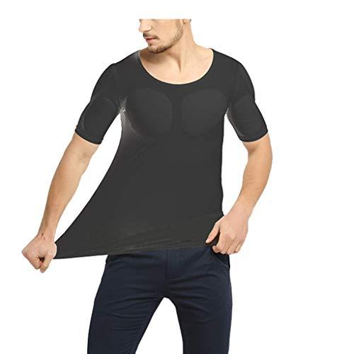 PAPIKOOL Camisa Musculosa Disfraz for Los Hombres Héroe De Lujo Camiseta Simulación Invisible Músculo del Pecho Body Shaper (Color : Black, Size : S)
