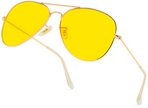 Classic Aviator Style Metal Frame Sunglasses Colored Lens (Gold Frame / Yellow Tint, 59)