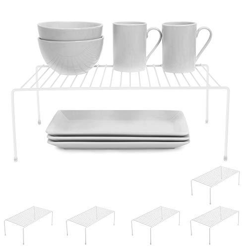 Smart Design Cabinet Storage Shelf Rack - Large (8.5 x 16 Inch) - Non-Slip Feet - Steel Metal Frame - Rust Resistant Coating - Cup, Dish, Counter & Pantry Organization - Kitchen [White] - Set of 6