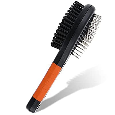 2 in 1 Double Sided Dog Brush | Cat Brush | Puppy Brush | For Dog Grooming Kit | Pet Hair Remover Brush | Pet Brush | Dog Brushes for Grooming Products for Dogs Cats Pets (Orange)