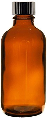 Premium Vials B27-24AM Boston Round Glass Bottle with Cap, 4 fl. oz. Capacity, Amber (Pack of 24)