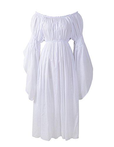 Renaissance Medieval Costume Pirate Faire Celtic Chemise Under Dress,Regular,White