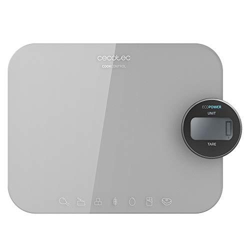 Cecotec Báscula de Cocina Cook Control 10300 EcoPower Nutrition. Sin Pilas, Precisión Desde 1 gr, Pantalla LCD, Función Tara, función sólidos y líquidos