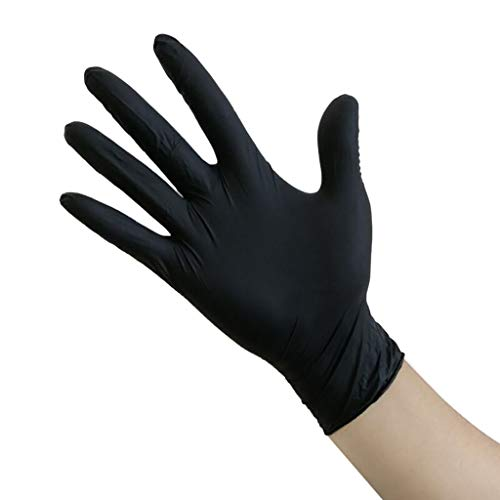 Nitrile Exam Gloves,100 Gloves - Food Handling, Medical, Janitorial, Laboratory Use Latex Free, Powder Free,Disposable Nitrile Industrial Gloves,Waterproof Medical Exam Glovers (Black 2#, L)