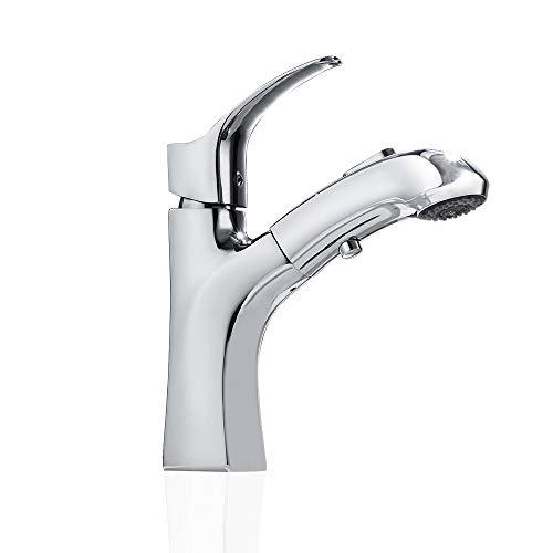 UISEBRT Wasserhahn Bad mit brause - Einhebelmischer Waschtischarmatur mit Herausziehbarer für Badezimmer Waschtisch, Messing Verchromt, Moderne Elegant Stil (Modell F)