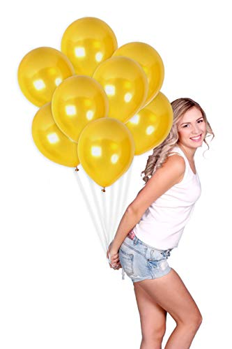 Metallic Gold Balloons Pack of 36 Golden Chrome Latex Balloons 12 Inch for Engagement Wedding Bridal Shower Bachelorette Anniversary Mardi Gras Party Supplies
