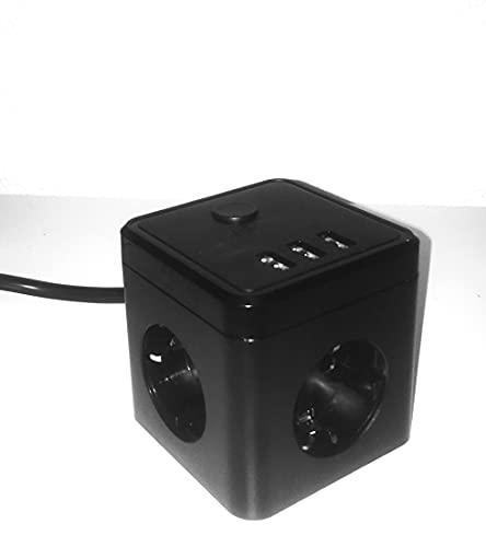 SPO Cubo Multi-Enchufe con Cargador Multiple USB. Regleta con 3 enchufes y 3 Tomas USB. Tiene Interruptor y un Cable de 1,5m. de Longitud.