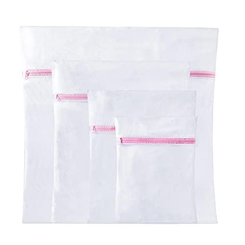 NIAGUOJI Bolsa de lavandería de malla 4 juegos para blusa delicada, reutilizable, duradero, sujetador, ropa interior, lencería, calcetines, medias, ropa de bebé, bolsas de malla para lavandería