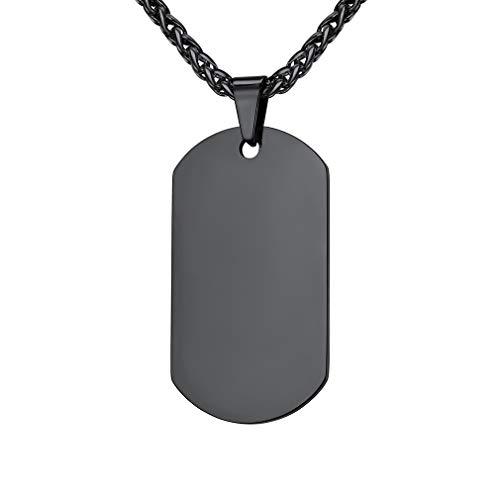 Collar Hombre Chapa Militar Rectangular Cadena Dudadera 20 Pulgadas Largo Acero Inoxidable 316L Joyería Moderna Hip Hop Hombre Mujer Placa Militar