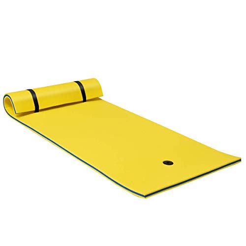 Goplus Floating Water Pad Mat, with Rolling Pillow Design, Bouncy Tear-Resistant 3-Layer XPE Foam, Roll-Up Floating Island for Pool Lake Ocean Boat (83'' x 26'', Yellow)