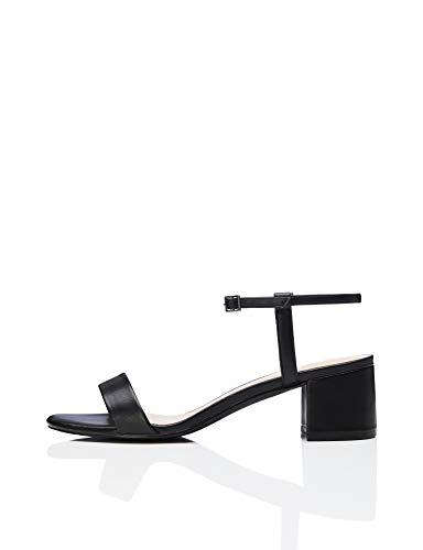 find. Block Heel Ankle Strap Sandalias con Punta Abierta, Negro Black, 37 EU