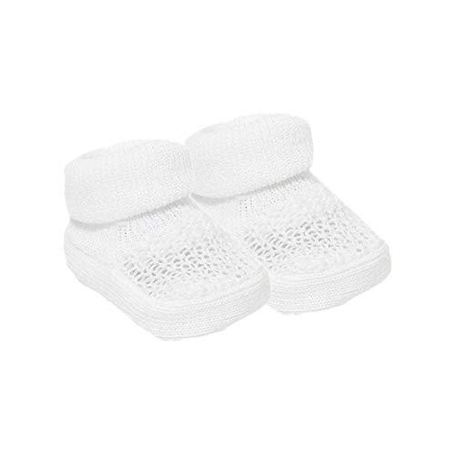 Babyschuhe für Neugeborene Mädchen und Jungen, mit Schleife, gestrickt, gehäkelt, weiche Schuhe, Socken für Babys Gr. 0 Monate, Weißes Strickdesign (S406)