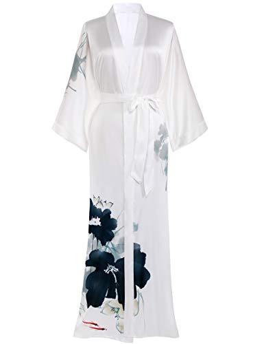 BABEYOND Damen Morgenmantel Kimono Blumen Zweig Gedruckt Maxi Lang Damen Bademantel Birnenblumen Strandjacke Braut Junggesellinnenabschied Party Schlafmantel (Lotos - Weiß)
