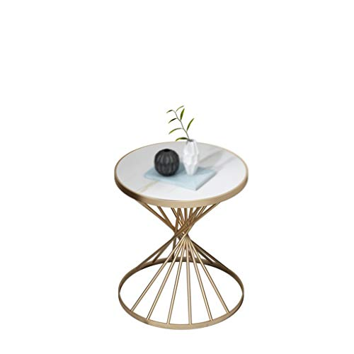 A-Yan-Q-Home Office Furniture Round Side Table, Artificial Marble Finish Metal Coffee Table Living Room Office Cafe Reception Room Sofa Table, Size:45 * 45 * 55CM Pedestal Tables
