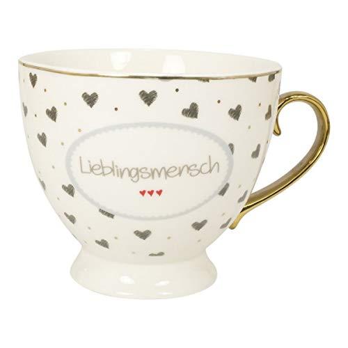 MEA LIVING Tasse 'Lieblingsmensch' mit Gold Druck Henkel Geschenk Karton Kaffee
