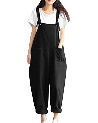 Latzhosen Damen Sommer Vintage Loose Haremshose Elegante Fashion Unifarben Perfect Pin-up mit Taschen Casual Oversize Pluderhose Jumpsuit Playsuit Style (Color : Schwarz, Size : L)