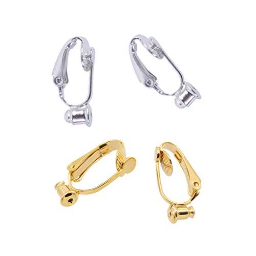 Artibetter 20 piezas DIY Ear Clip Pendientes Accesorios Pasadores Auriculares Sin Corte Pendientes Convertidores Decoración Regalo (Oro y Plata)