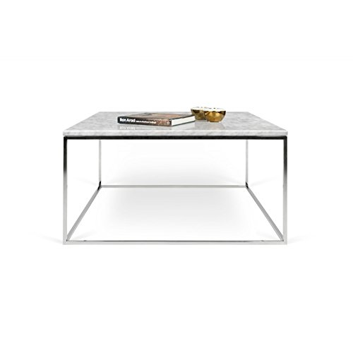 Paris Prix - Temahome - Table Basse Gleam 75cm Marbre Blanc & Métal Chromé