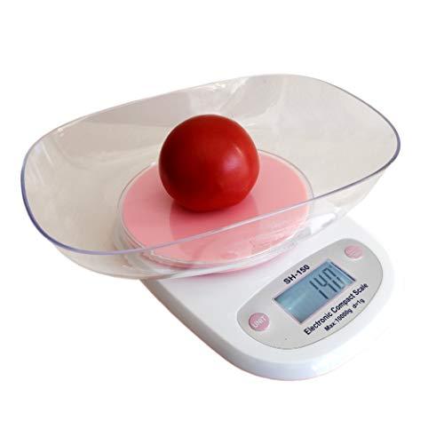 CHIC FANTASY Báscula de cocina digital multifuncional a escala, 10 kg. Oz, ml, lb, gr Pantalla de LED (pilas incluidas) y recipiente transparente de 23 x 17 cm para líquidos (rosa)